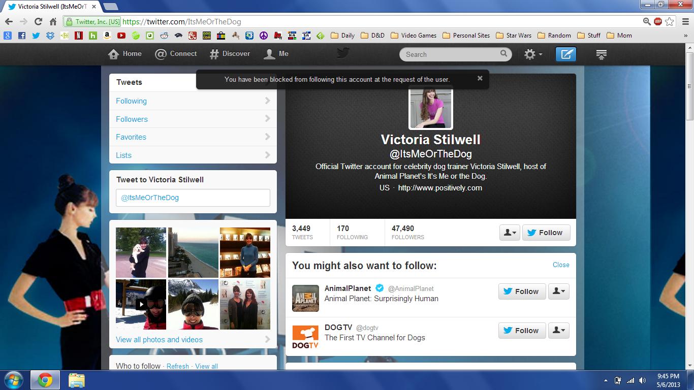 Victoria Stilwell has blocked me on twitter.
