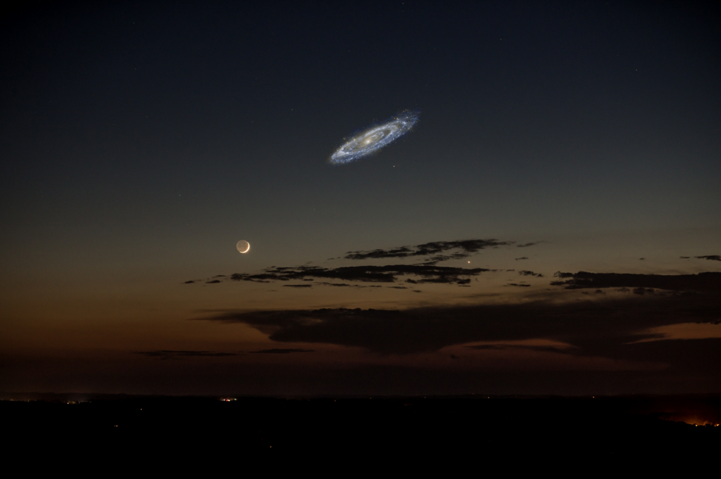 Andromeda's actual size if it were brighter